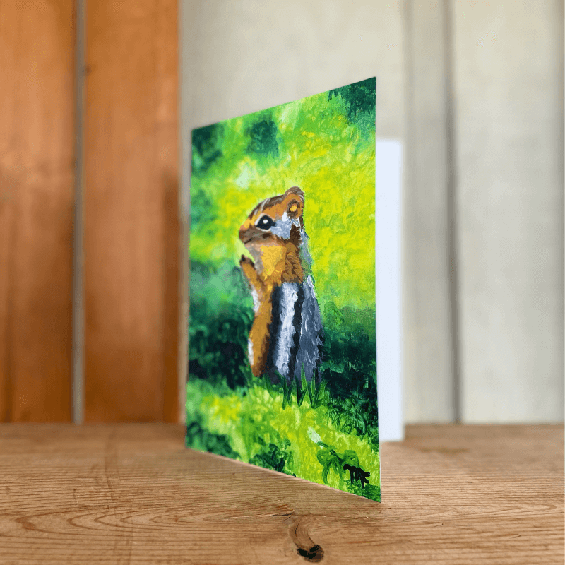 greeting card with painted chipmunk